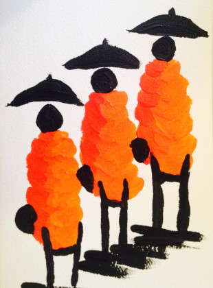 Laos Monks with Umbrellas - Acrylic